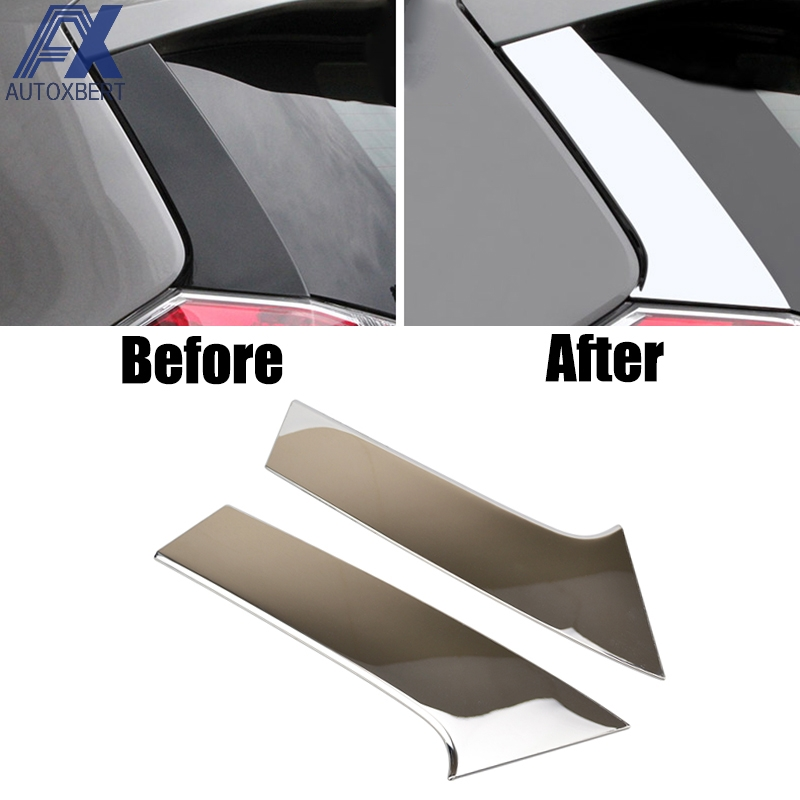 AX 2pcs Chrome Rear Window Spoiler Side Pillar Post Cover For Nissan Rogue x-Trail t32 2014 - 2016 2017 Trim Molding Stainless