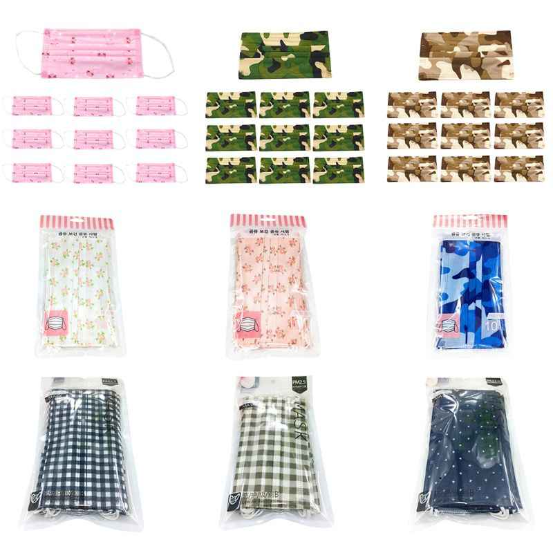 10Pcs/Set Unisex Anti Dust Disposable Face Mouth Mask Colored Floral Camouflage Plaid Printed Three Layer Spunlace