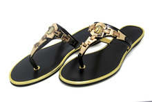 Brand 2016 New Arrival Women's Shoes Women Sandals Flat Casual Sandals Metal Gladiator Beach Flip Flops Leather Plus Size US 12