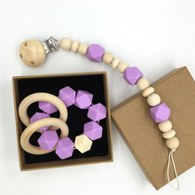 Organic Wood Montessori Toy Purple Silicone Beads Teether Wooden Baby Teether Ring Infant Teether BPA Free