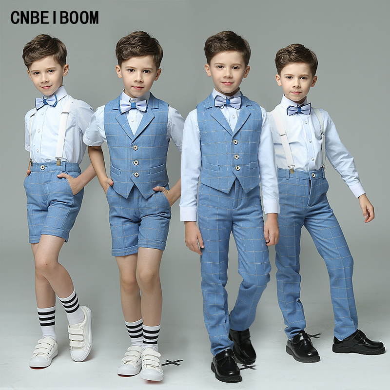 4pcs/set Vest+Pants+Shirts+Bow Tie Wedding Blazers clothing Sets Single Breasted Show/Performance Groom Boys Blue Suits clothes