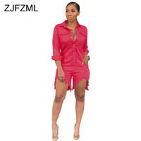 Plus Size Denim Rompers Womens Jumpsuit Turn Down Collar Full Sleeve One Piece Playsuit Casual Buttons Up Short Beach Bodysuit