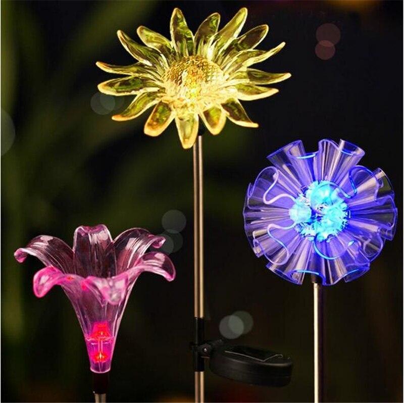 Solar Multi-color Changing LED Soalr Light Solar Powered LED Lawn Lamp Flower Stake Light For Outdoor Garden Patio Yard Decor ...