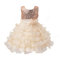 New Lace Sleeveless Short-sleeved Bead String Dress With Bowknot Sequins Princess Dress Girl Dresses Children Party Wear