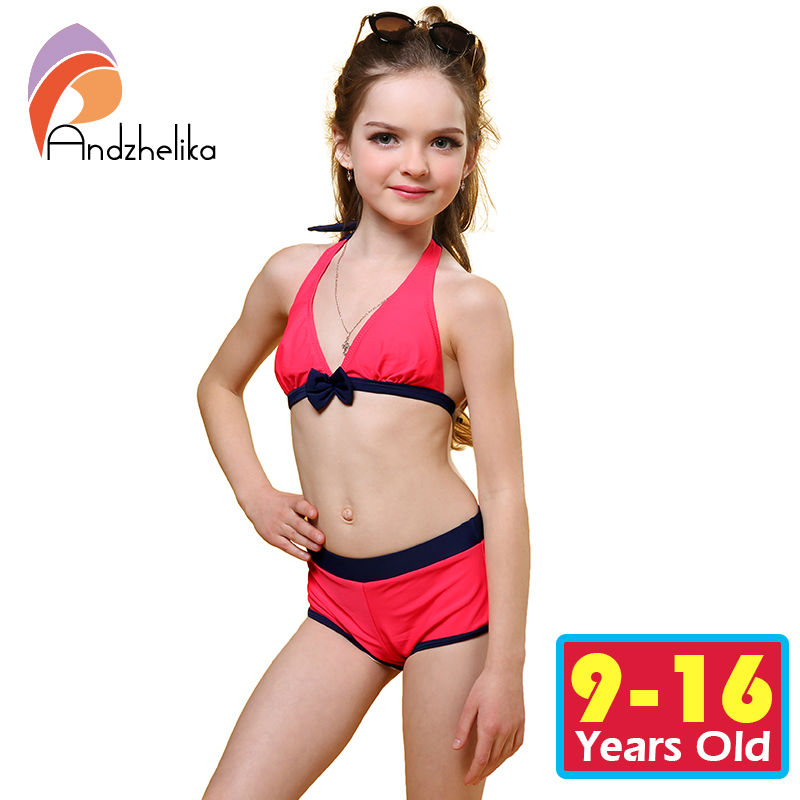 Andzhelika Swimsuit for girls 2017 Summer Girls Bikini Cute Bow Children Swimwear Children Girl Swimming Suit