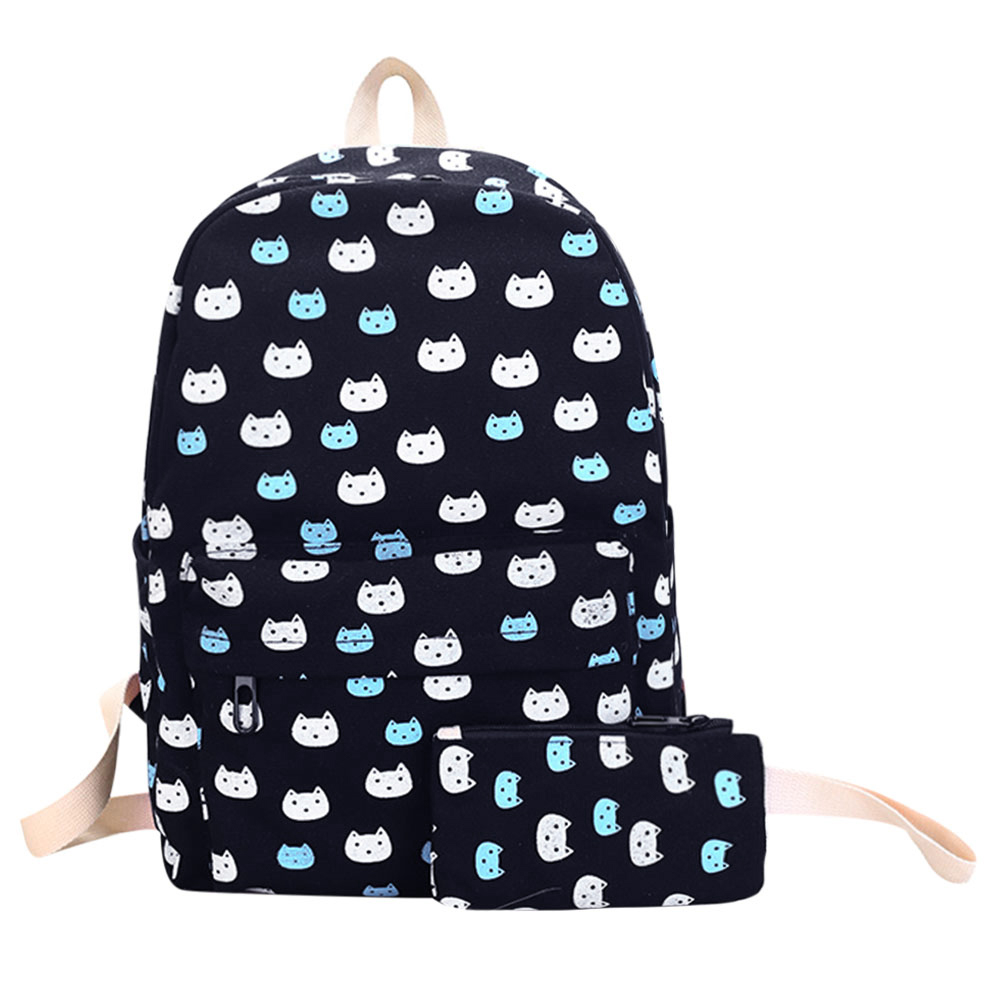 2Pcs/Set Cute Cat Printing Women Backpack Preppy Chic School Bags For Teenage Girls Canvas Backpack Rucksack Back Pack Mochila