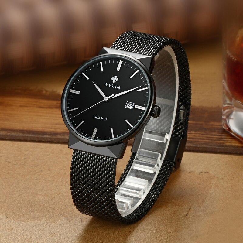 f45976c4aa7 Novos Homens Relógios Top Marca De Luxo 50 m Impermeável Ultra Fino Data  Cinta de Aço relógio Masculino Relógio De Quartzo Casuais Homens Relógio De  Pulso ...