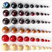 MINGXUAN 100PCs Natural Ball Wood Spacer Beads 4 20mm For Charm Bracelet Wholesale font b baby