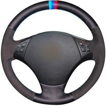Hand sewing custom Black Leather Black Suede Car Steering Wheel Cover for BMW E90 320 318i 320i 325i 330i 320d X1 328xi 2007