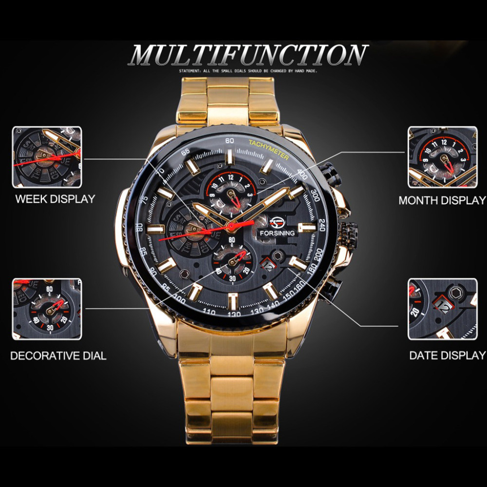 Watch Men Three Eyes Automatic Mechanical Watch Gold High Quality Vintage Man Watch Mens Mechanical Watch Top Luxury Brand #W