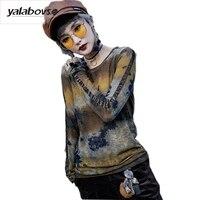 Yalabovso 2018 Nueva Primavera Moda Punk Rave O cuello Camisetas Squin Camuflaje Camisetas de Manga larga Patchwork Tops para mujer A110Z15