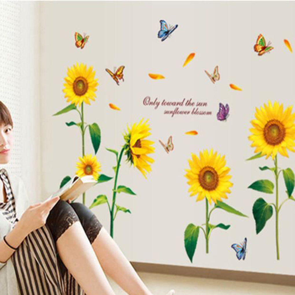 Removable Sunflower Background Wall Stickers Poster Plant Paster Decals Wallpaper Decor Living