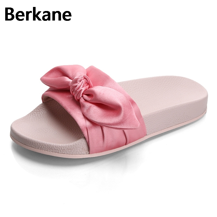 Silk Bow Fashion Slides Women Summer Slippers 2018 Sandals Pink Flat Chinelo Brand Beach Shoes Rihanna Casual Flip Flops Bohemia hot fashion summer women shoes women s metal c flat sandals female summer slippers flip flops ladies beach sandals femme chinelo