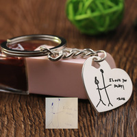 Wholesale Kid Drawings Pattern Keychain Pendant 925 Sterling Silver Keychain For Father Christmas Gift