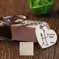 Wholesale Hand drawings Keychain Personalized Memorial Pendant Sterling Silver Statement Keychain for Father Mom Gift