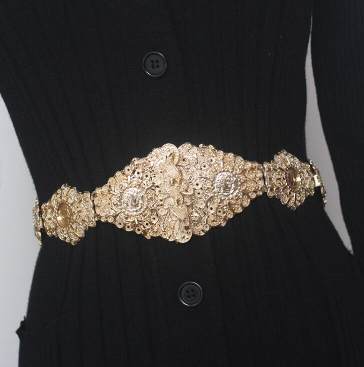 Women's Runway Fashion Gold Buckle Elastic Cummerbunds Female Dress Corsets Waistband Belts Decoration Wide Belt R1667