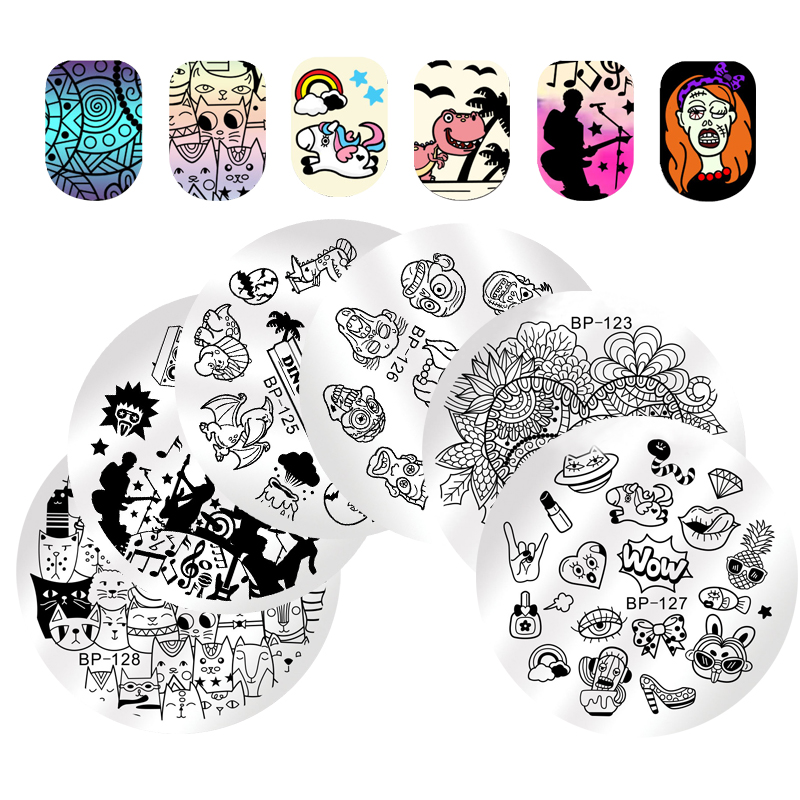 BORN PRETTY 5.5cm Voyage Nail Art Stamping Template Maquillage Chat Rock Musique Manucure Nail Image Plate BP-123 ~ 29