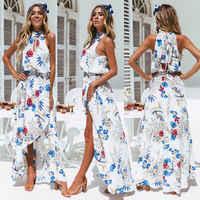 summer Dress Women Boho Floral Print Sleeveless Long Maxi Beach Dresses Stand Neck Evening Party Sundress Asymmetrical Vestidos