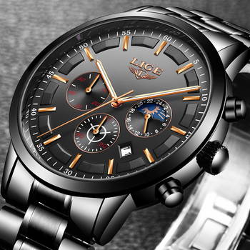 LIGE Fashion Sports Clock Top Brand Luxury Business Chronograph Waterproof Men Quartz Watches 2