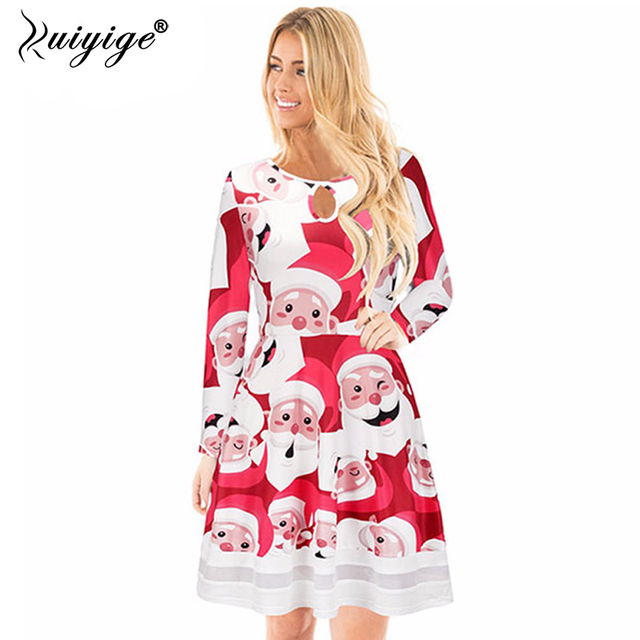 ruiyige 2018 spring women sexy christmas party dresses santa claus long sleeve o neck tunic