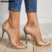 TINGHON New Women Pumps PVC Transparent High Heels Sexy Pointed Toe Leopard Grain Party Shoes Lady Thin Size 35-42