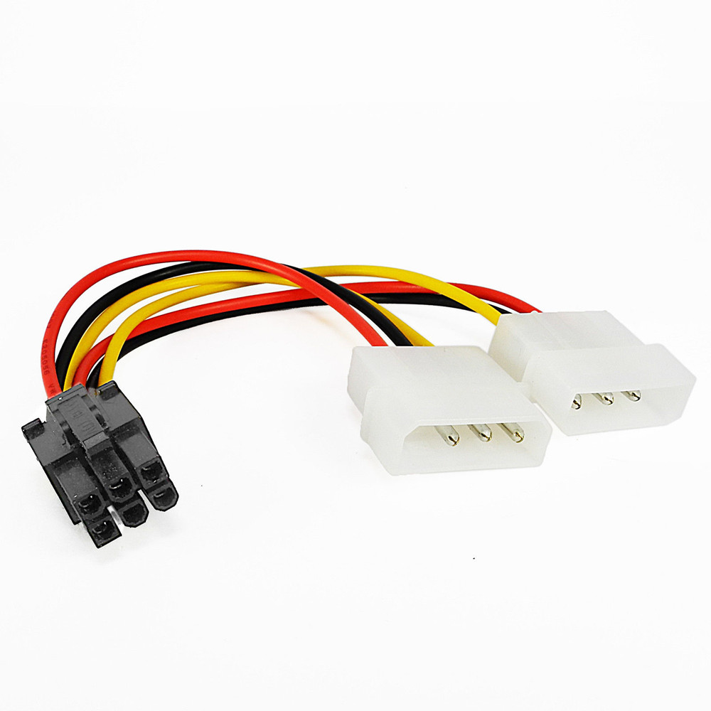 PCI Express 6 Pin To Dual 4 Pin Molex IDE Graphics Card Power Cable Adapter