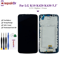 Original 720x1280 For LG K10 LTE K420N K430 LCD Display Touch Screen Digitizer Assembly With Frame 5.3'' For LG K10 Lcd Screen