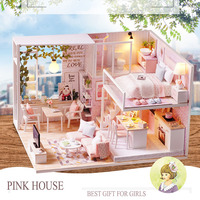 Diy Wooden House for Dolls Miniature pink Princess Home Model Doll House Furniture Accessories Decoration Toy for Birthday Gifts