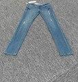 Бесплатная доставка 2016 новый Высокое Качество света кнопка fly низкая полная длина полосы тощий карандаш брюки мыть хлопок, лайкра, джинсы