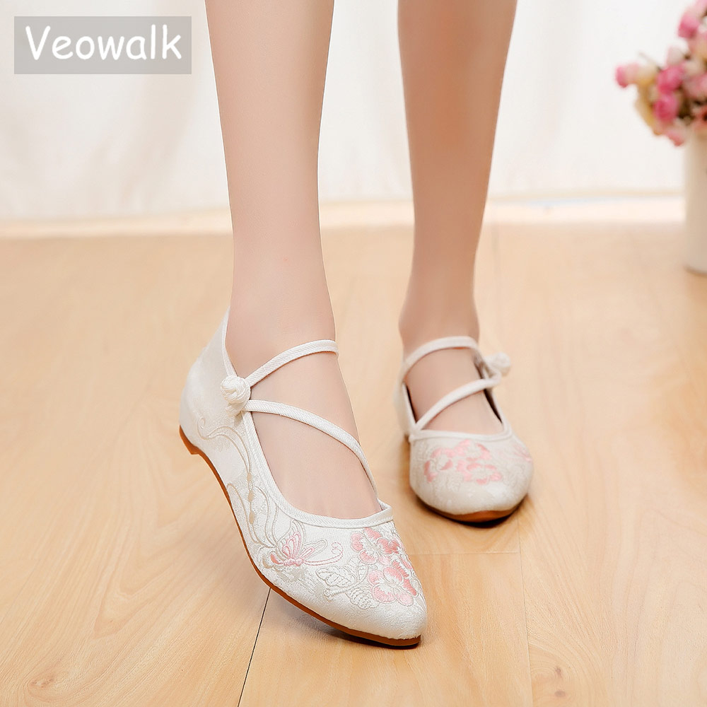 Veowalk Jacquard Cotton Women Pointed Toe Ballet Flats, Comfort Casual Embroidered Shoes for Ladies Woman Soft Canvas BallerinasWomens Flats   -