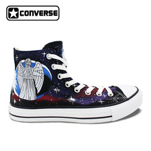 Galaxy Police Box Converse All Star Men Women Hand Painted Canvas Shoes High Top Athletic Sneakers