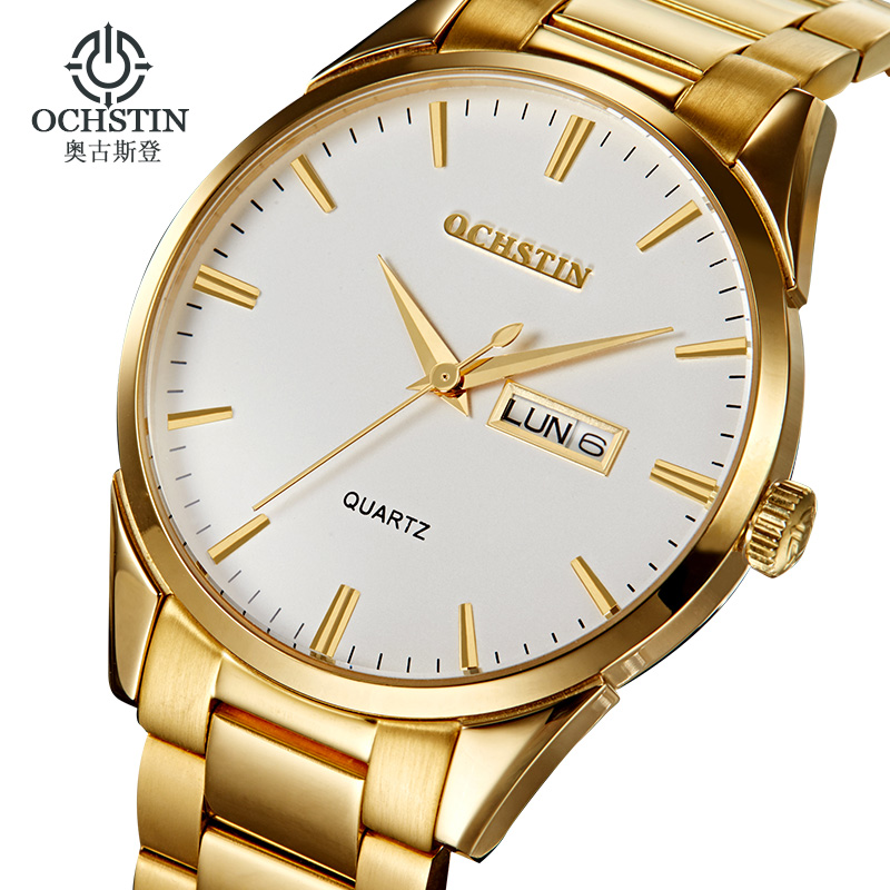 Ochstin Luxury Brand Business Mens Quartz-watch Casual Watches Men Wristwatches Steel Strap Gold Band Date Relogio Masculino A цена и фото
