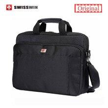 Swisswin Laptop Briefcase Men 14″ Laptop Messenger Bag with Handle Business Portfolio Big Black Handbag Men