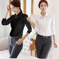 2015 OL White Shirt Women Cardigan Office Ladies' Long Sleeve Tops Black Slim Blouses & Shirts Women Work Shirt XS-2XL #C3