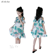 Girls Dress Fashion Strapless Princess Print Vestido Infantil Summer New Cotton Child Wear 4-13 Y Quality Clothing 2019 Hot Sale