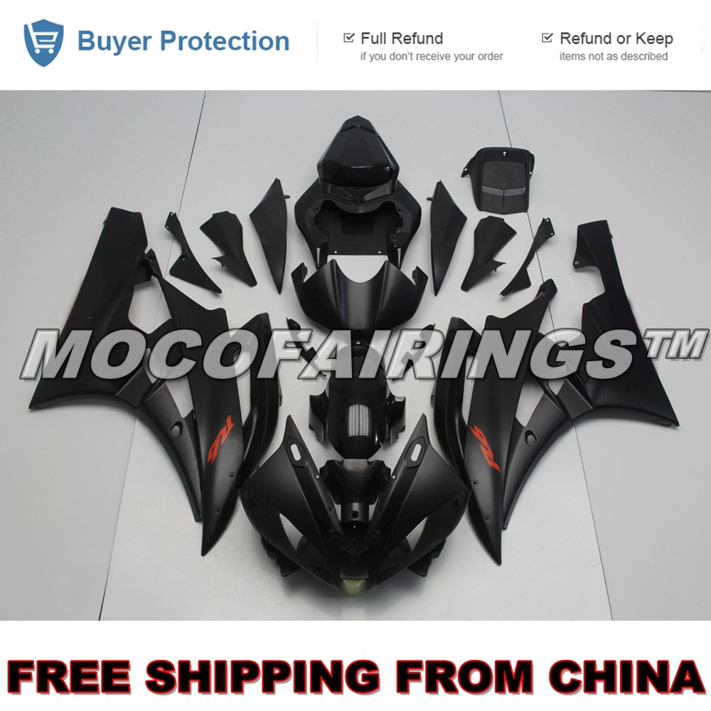 2006 2007 YZF R6 Motorcycle 100% Virgin ABS Plastic Injection Fairing Kits For Yamaha YZF R6 06 07 Fairings MATTE BLACK