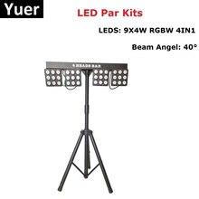 LED Par Kit 4Pcs 9X4W RGBW 4IN1 LED Flat Par Lights LED Stage Light DMX Controller LED Par For Disco Light Sound Party Light o 8xlot dmx512 led par 64 light rgbw 4in1 led flat par can stage uplighting 24x10w led par