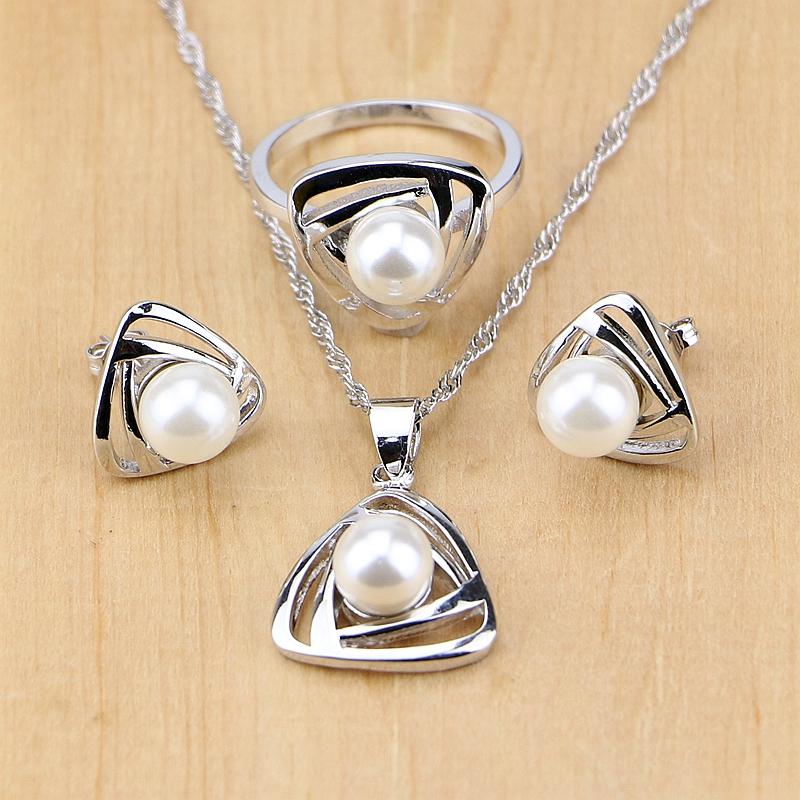 03fdc83a9a50 Perla de agua dulce con cuentas conjuntos de joyas de plata 925 decoración  de boda para mujer pendientes colgante anillo conjunto de collar en  Sistemas de ...