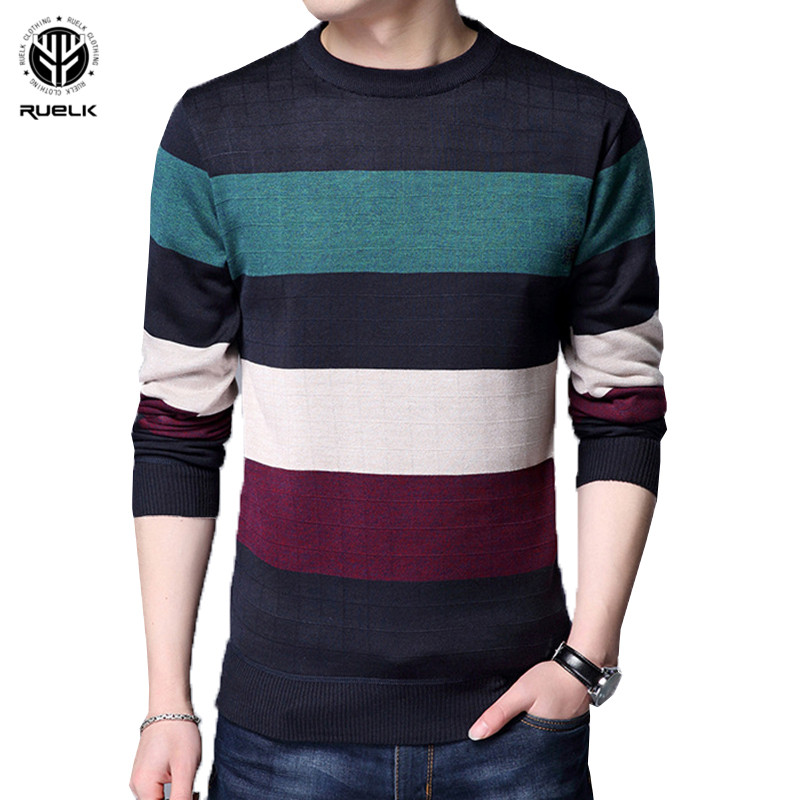RUELK 2018 New Autumn Fashion Brand Casual Sweater O-Neck Striped Slim Fit Knitting Mens Sweaters And Pullovers Men Pullover Men