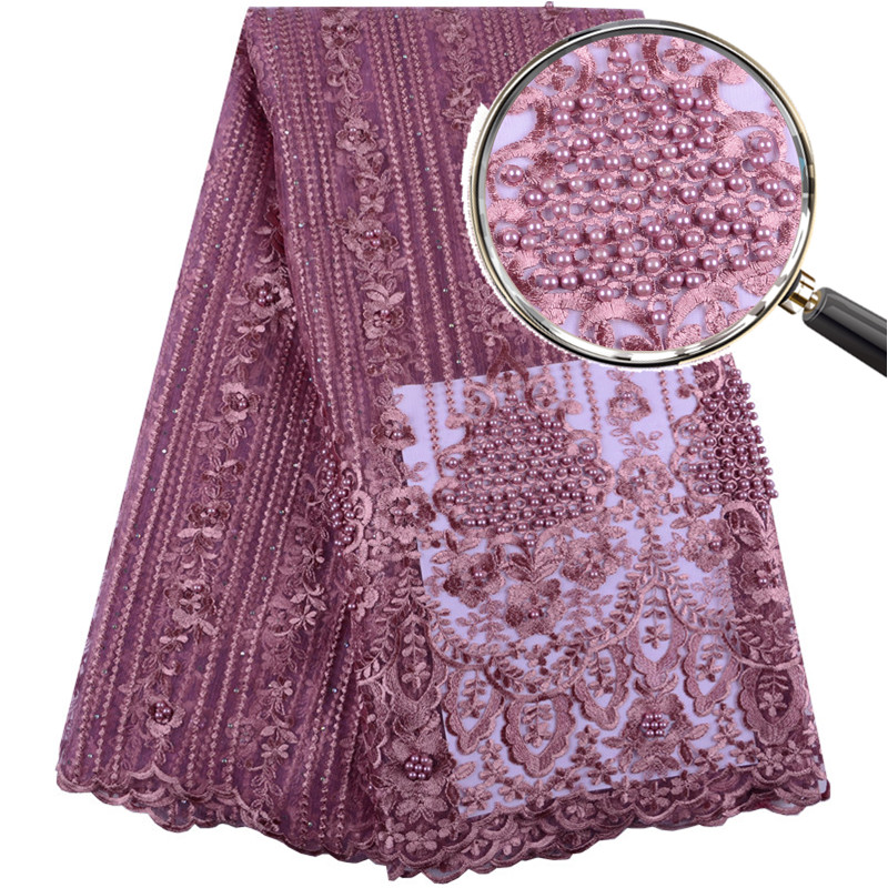 French Bead Lace Fabric Onion Color 2019 Latest African Mesh Tulle Lace Fabric 5 Yards Nigerian