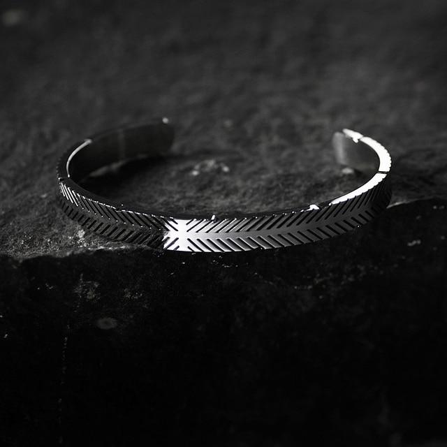 Bracelet en acier inoxydable titane ligne Viking couleur argent Bracelets de manchette hommes femmes manchette bracelet ouvert 4