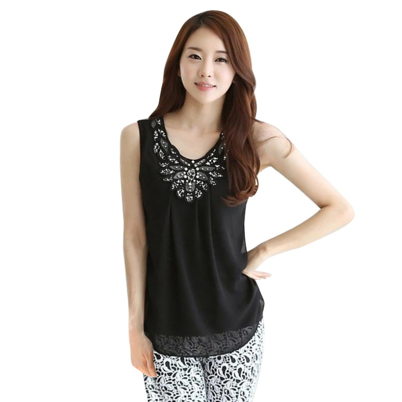 T-Shirt For Women Fitness Elegant Flower Embroidery Lace Blouse New Fashion Summer Top Shirt Sleeveless Suits For Lady W5