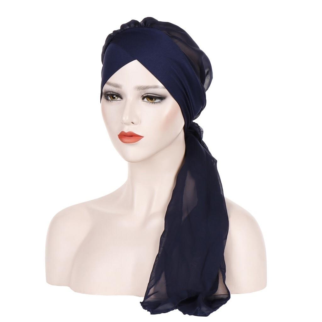 New Forehead Crossing Headgear Pure Color Fashion Chiffon Long Tail Headgear Hijab Caps Scarf Muslim Dress