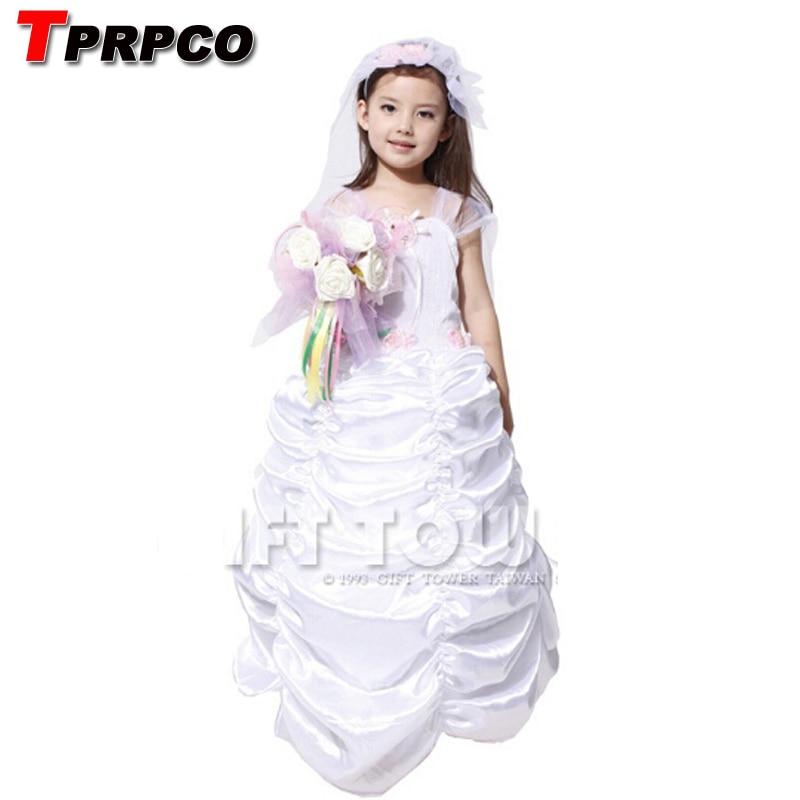 TPRPCO children kids wedding bride costumes for girls fantasy dress halloween carnival costumes NL159