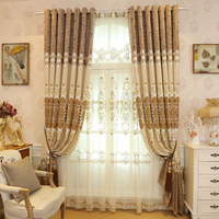 European style high quality thick shade embroidery cloth curtain living room bedroom curtain gauze home decor custom