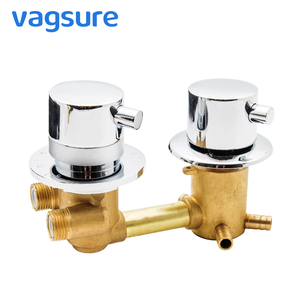 Thermostatic Shower Faucets 2/3/4 Ways Outlet 10cm /12.5cm Intubation Brass Mixing Valve Tap Temperature Mixer Control BathroomThermostatic Shower Faucets 2/3/4 Ways Outlet 10cm /12.5cm Intubation Brass Mixing Valve Tap Temperature Mixer Control Bathroom