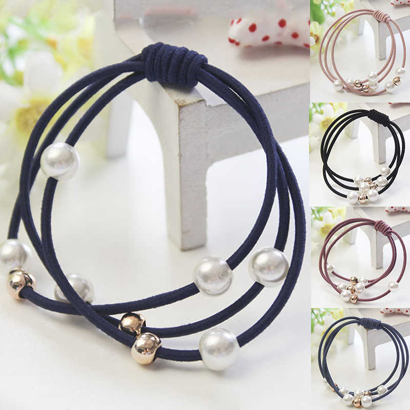 Hot Sale Women Fashion Gift Hair Accessories Elastic Hair Bands Pearl Rubber Band Simple Hair Ropes