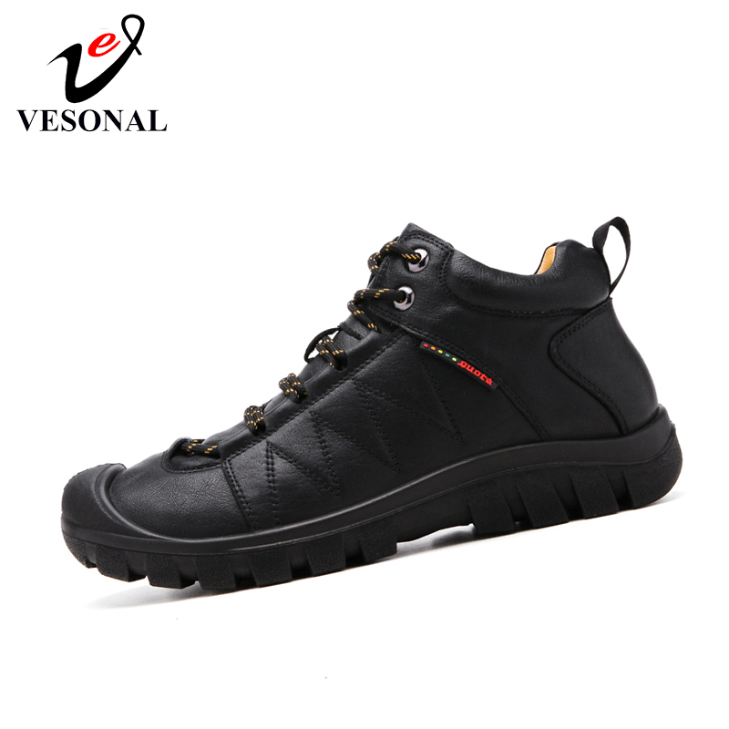 VESONAL Brand Comfortable Soft Outdoor Hiking Shoes Leather Slip On Male For Men Shoes Adult Simple