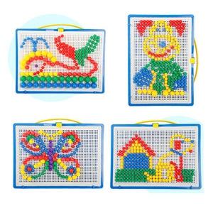 Image 4 - 296pcs 모자이크 그림 퍼즐 장난감 어린이 복합 지적 교육 버섯 네일 키트 완구 BM88