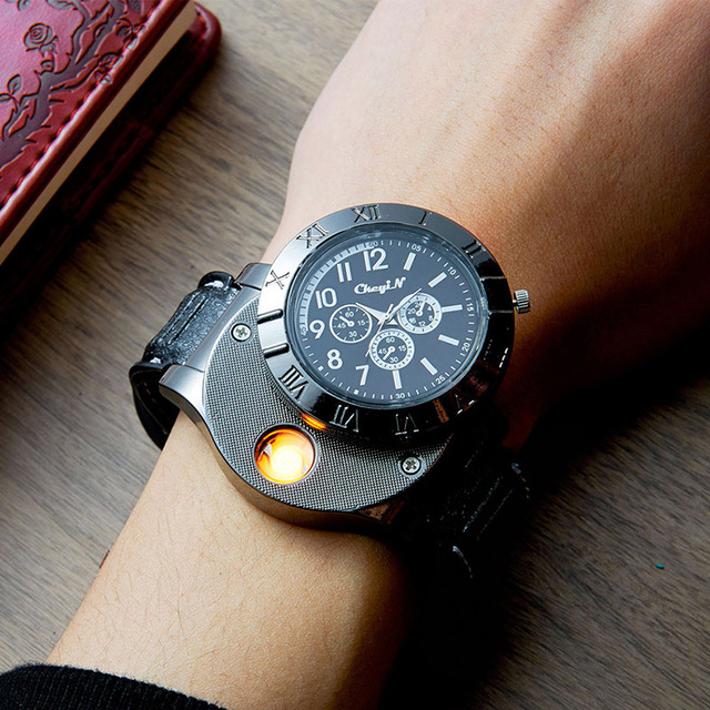 Military USB Charging Lighter Watch Flameless Windproof Cigarette Lighters Rechargeable Electronic Sports Men Watches No Gas 45 2